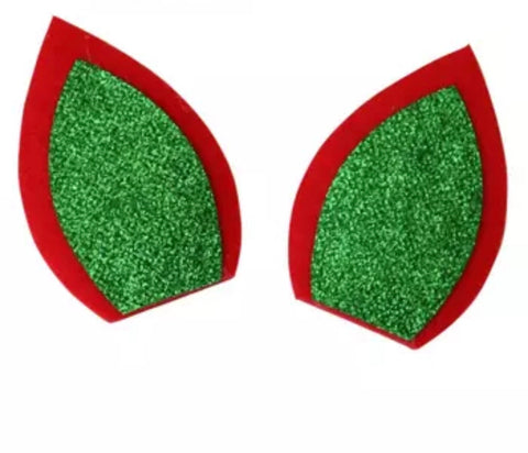 "Red & green glitter 3"" unicorn Christmas ear padded appliqués - MAE Inspirations"