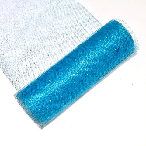 "Turquoise blue 6"" GLITTER tulle fabric / 1-10 yards - MAE Inspirations"
