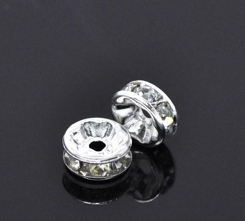 8mm silver plated rhinestone spacer beads w/ flat edges / 5-10 pieces - MAE Inspirations