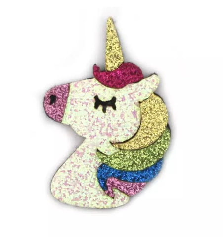 Rainbow unicorn glitter 40x55mm padded appliqués - MAE Inspirations