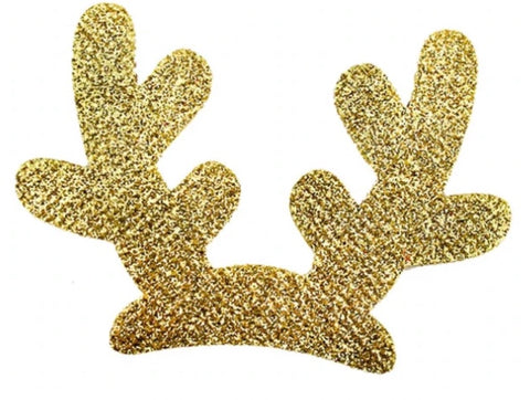"3"" gold glitter reindeer antlers Christmas padded appliqués - MAE Inspirations"