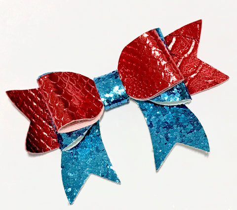 "Red mermaid scale w/ turquoise glitter 3.5"" leather bow tie - MAE Inspirations"