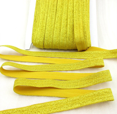 "Gold 5/8"" metallic FOE Fold over elastic - MAE Inspirations"