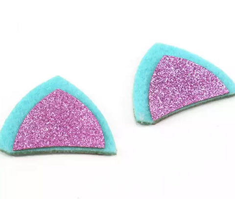 "Turquoise & hot pink glitter 1.75"" cat ear padded appliqués - MAE Inspirations"