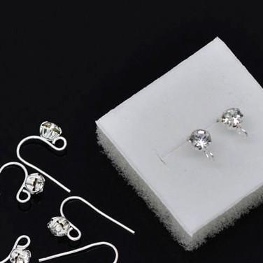 Silver plated rhinestone ear wires 18mm X 12mm / 1 pair - 5 pairs - MAE Inspirations