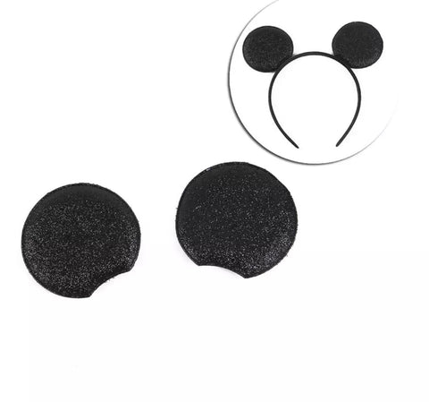 "Black glitter 2.75"" Mickey Mouse ears padded appliqué - MAE Inspirations"