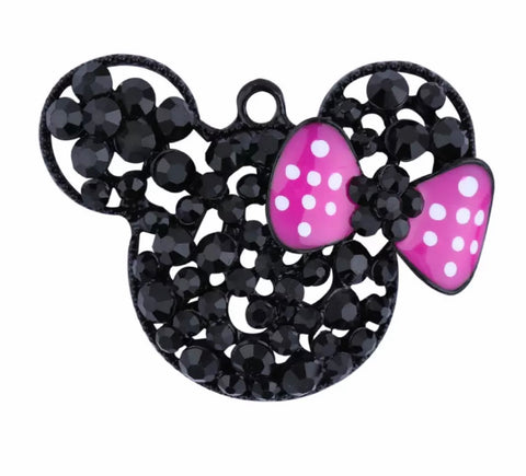 52x38mm black rhinestone Minnie Mouse w/ hot pink bow chunky bubblegum gold metal pendant - MAE Inspirations