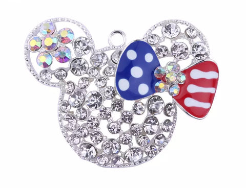 52x38mm 4th of July rhinestone Minnie Mouse w/ bow chunky bubblegum gold metal pendant - MAE Inspirations