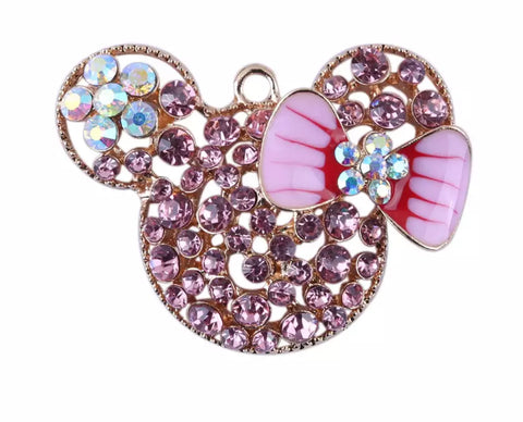 52x38mm light pink rhinestone Minnie Mouse w/ bow chunky bubblegum gold metal pendant - MAE Inspirations
