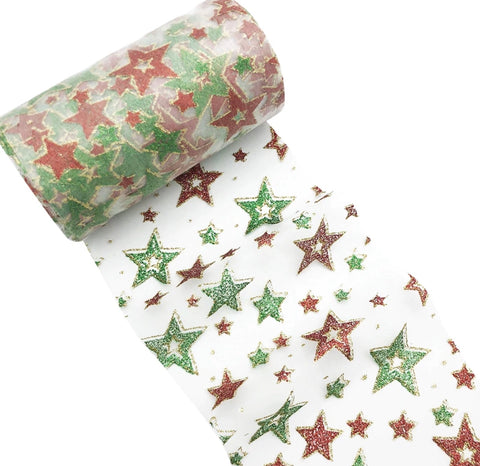 "Red & green Christmas stars 6"" GLITTER mesh tulle fabric - MAE Inspirations"