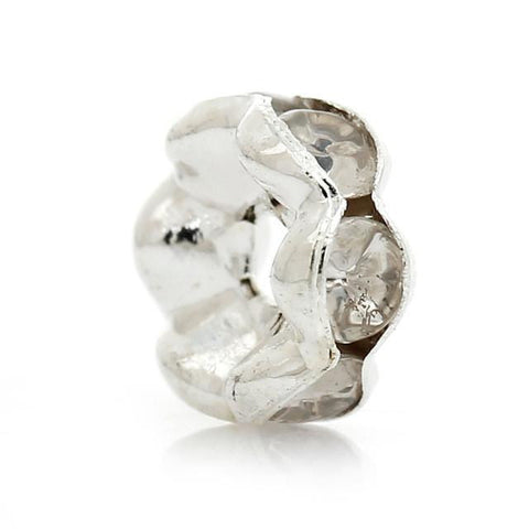 6mm silver plated rhinestone spacer beads w/ wavy edges / 5-10 pieces - MAE Inspirations