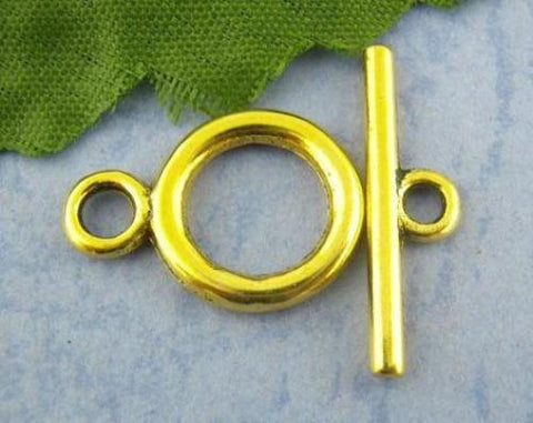 Gold round toggle clasp / 1-5 sets - MAE Inspirations