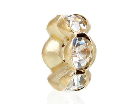8mm rose gold plated rhinestone spacer beads w/ wavy edges / 5-10 pieces - MAE Inspirations