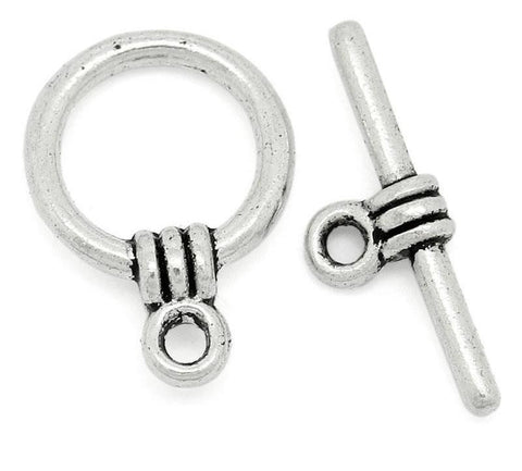 Antique silver round toggle clasp 11x15mm / 1-5 sets - MAE Inspirations