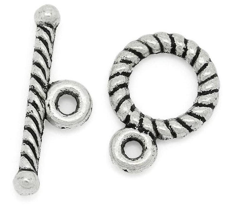 Antique Tibetan silver round twisted toggle clasp 11x9mm / 1-5 sets - MAE Inspirations  - 1