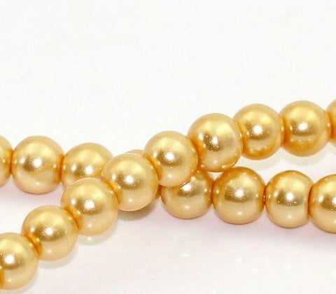 6mm gold glass pearl beads / 5-50 pieces - MAE Inspirations