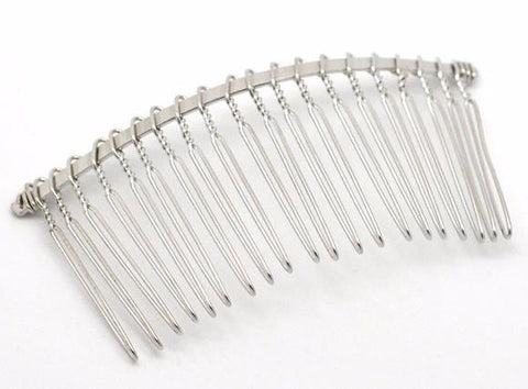 "Silver metal hair comb / 3 1/8"" X 1 1/2"" - MAE Inspirations"