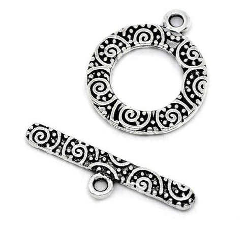 Antique silver round pattern toggle clasp 16x19mm - MAE Inspirations  - 1