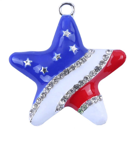 33mm red white & blue 4th of July star chunky bubblegum metal pendant - MAE Inspirations