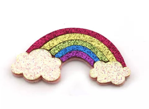 Rainbow glitter 28x58mm padded appliqués - MAE Inspirations