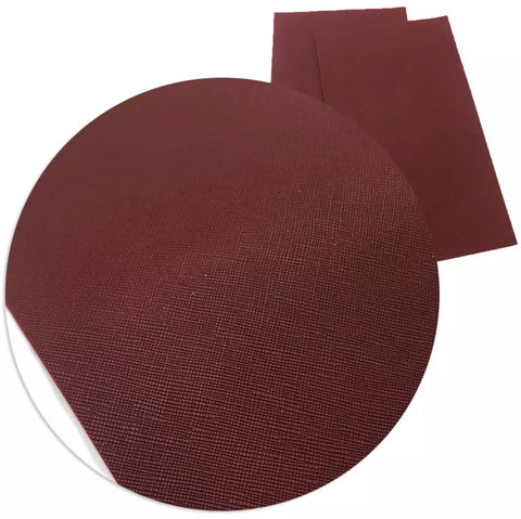 Burgundy solid faux leather fabric sheet - MAE Inspirations