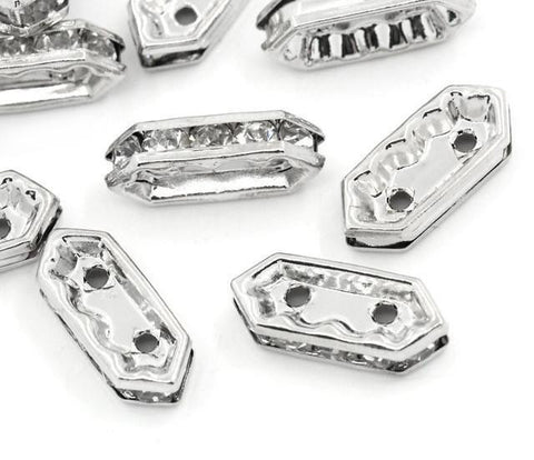 15x6mm silver plated rhinestone spacer bar beads w/ flat edges / 5-10 pieces - MAE Inspirations