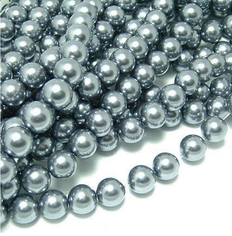 6mm charcoal gray glass pearl beads / 5-50 pieces - MAE Inspirations