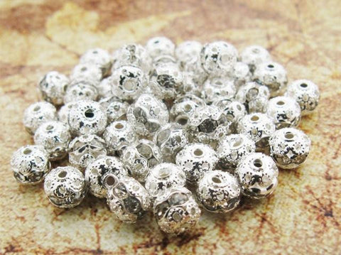 6mm silver tone rhinestone crystal pave fireball bead / 2-10 pieces - MAE Inspirations