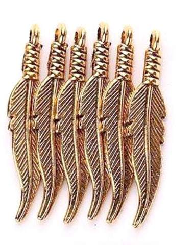 Feather antique gold 6X32mm charm - MAE Inspirations