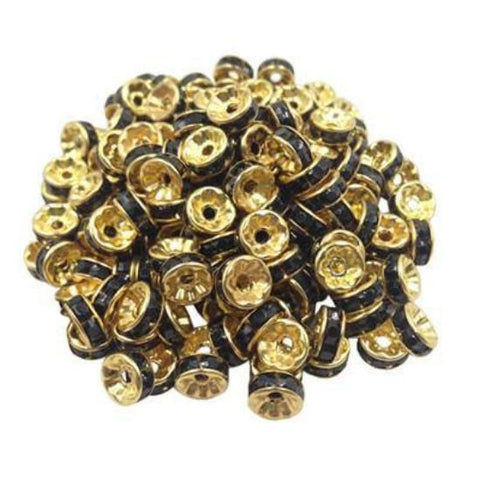 8mm gold plated black rhinestone spacer beads w/ flat edges / 5-10 pieces - MAE Inspirations