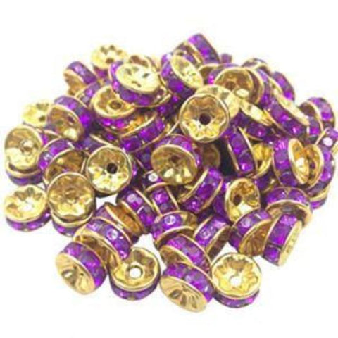 8mm gold plated purple rhinestone spacer beads w/ flat edges / 5-10 pieces - MAE Inspirations