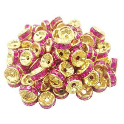 8mm gold plated hot pink rhinestone spacer beads w/ flat edges / 5-10 pieces - MAE Inspirations