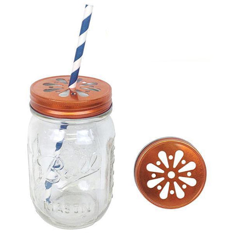 Orange mason jar daisy lids