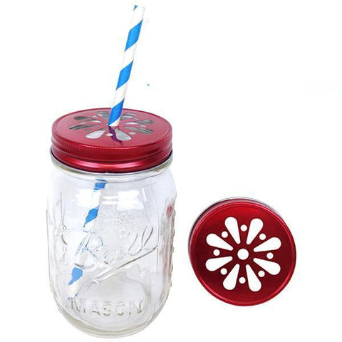 Red mason jar daisy lids