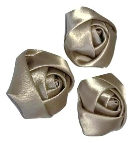"Beige 1.5"" satin rolled rose - MAE Inspirations"