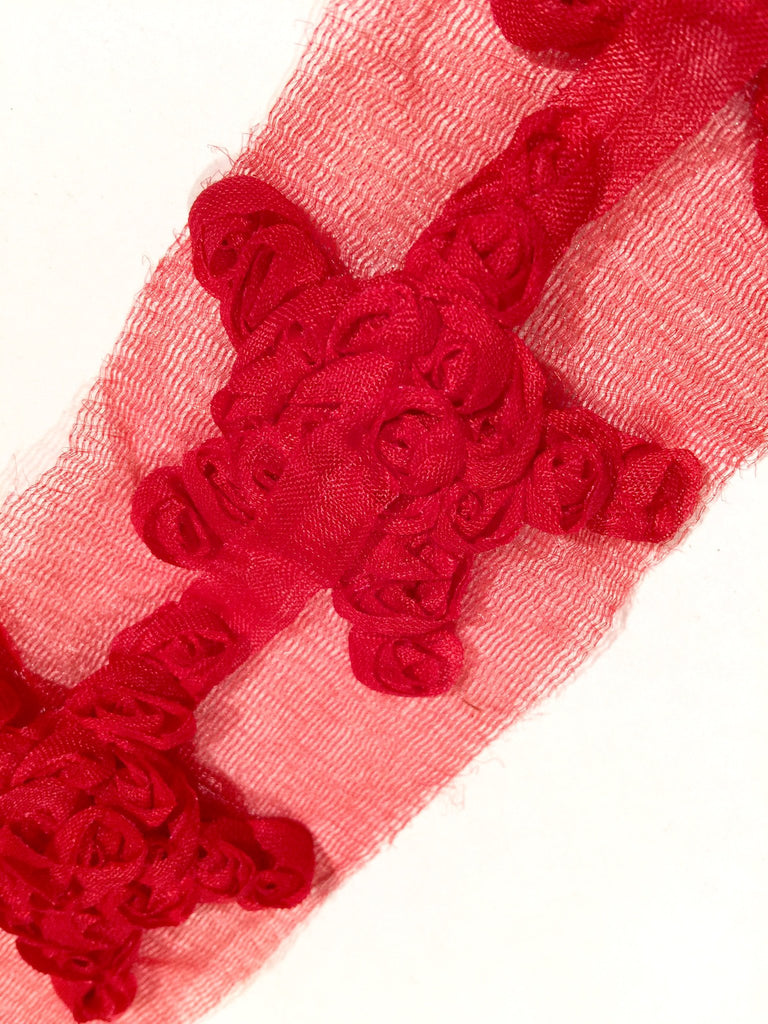 "Red 2"" shabby chiffon star rose trim 4th of July - MAE Inspirations"