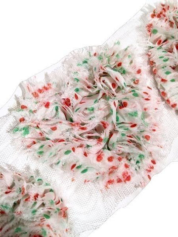 "Christmas polka dot 3"" shabby chiffon heart rose trim - MAE Inspirations"