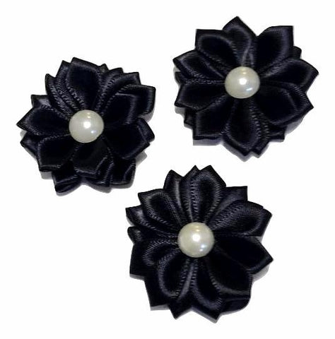 "Black 1.5"" satin petal flower with pearl center - MAE Inspirations"