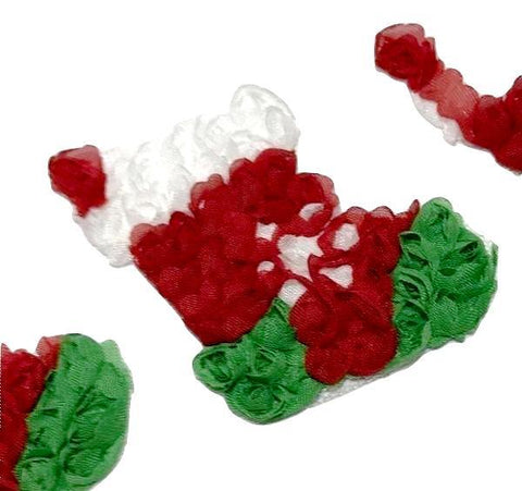 "2.75"" shabby chiffon rose Christmas stocking trim - MAE Inspirations"