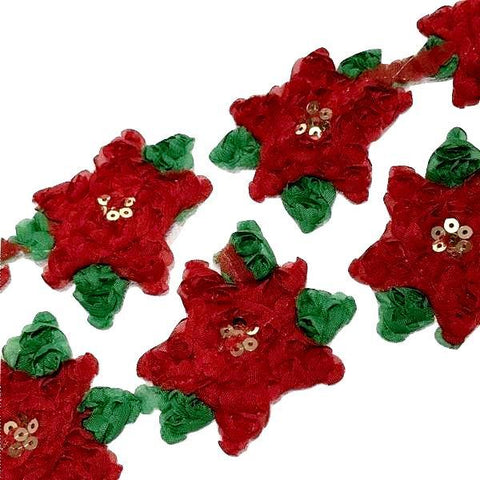 "2.5"" shabby chiffon rose Christmas sequin poinsettia flower trim"