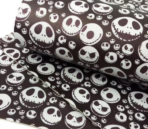 Black Jack Skellington Halloween faux leather fabric sheet - MAE Inspirations