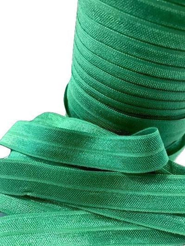 "Emerald green 5/8"" fold over elastic FOE"
