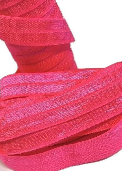 "Passion fruit pink 5/8"" fold over elastic FOE - MAE Inspirations"