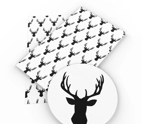 Deer head silhouette w/ antlers faux leather fabric sheet - MAE Inspirations