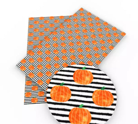 Black striped pumpkins Halloween faux leather fabric sheet - MAE Inspirations