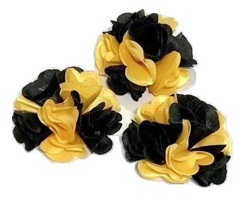 "Black & yellow two-toned 2"" satin layered flower - MAE Inspirations"