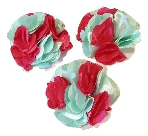 "Aqua blue & hot pink two-toned 2"" satin layered flower - MAE Inspirations"