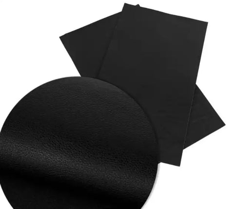 Black textured solid faux leather fabric sheet - MAE Inspirations