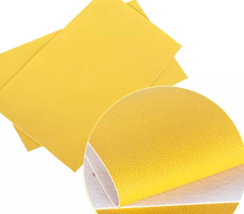 Yellow textured solid faux leather fabric sheet - MAE Inspirations