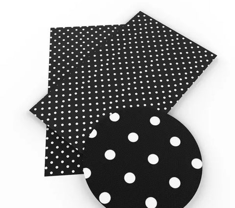 Black polka dot faux leather fabric sheet - MAE Inspirations